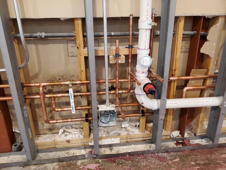 plumbing service in progress