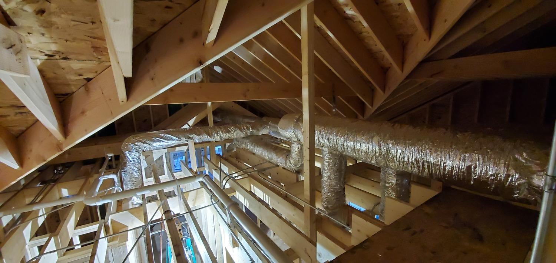 air conditioning installation in progress